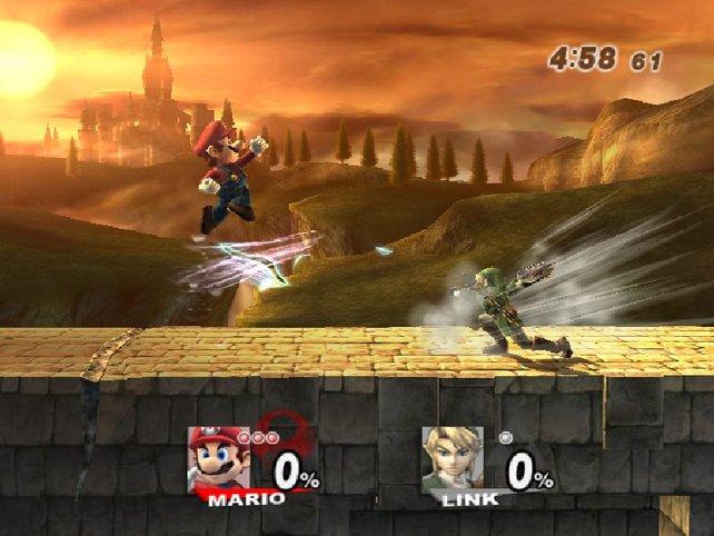 In einer der optisch schönsten Stages kämpft Mario gegen Link.