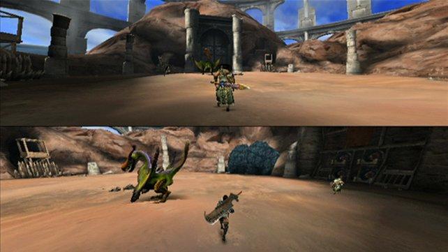 Spielt in Monster Hunter Tri online zu viert oder zu zweit am geteilten Bildschirm.