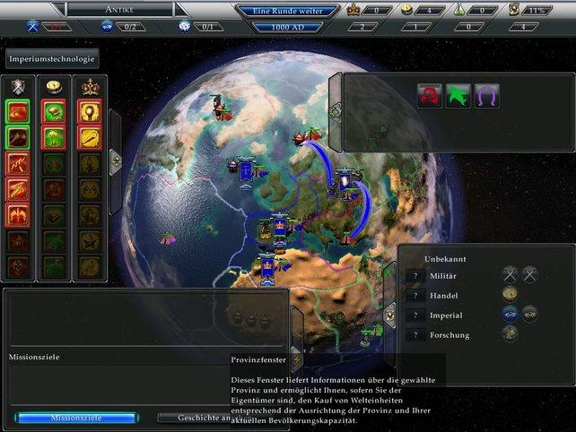 Alles auf einen Blick: Übersichtliches Weltherrscher Menü