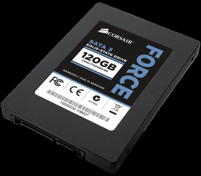 SSD-Festplatten (im Bild: Force3 von Corsair) sind schneller als herkömmliche Magnetspeicher.