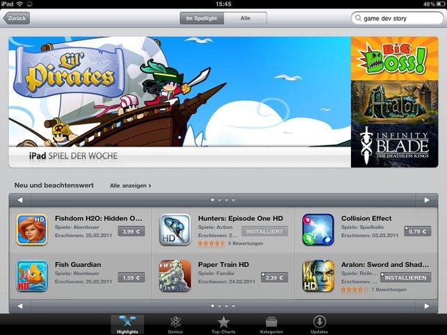 Der AppStore auf dem iPad
