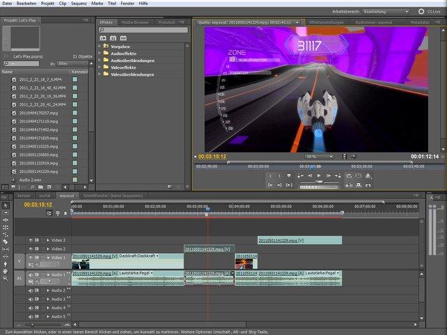 In Schnittprogrammen wie Adobe Premiere zerteilt ihr Videos in der Zeitleiste (unten).