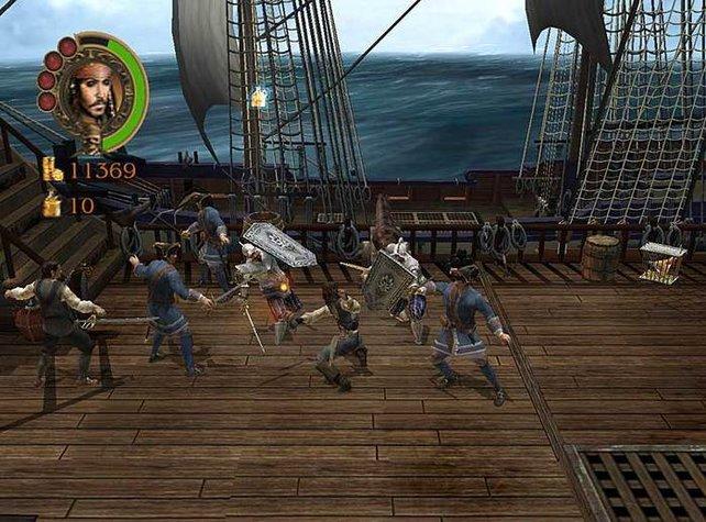 Ein wilder Kampf auf dem Schiff