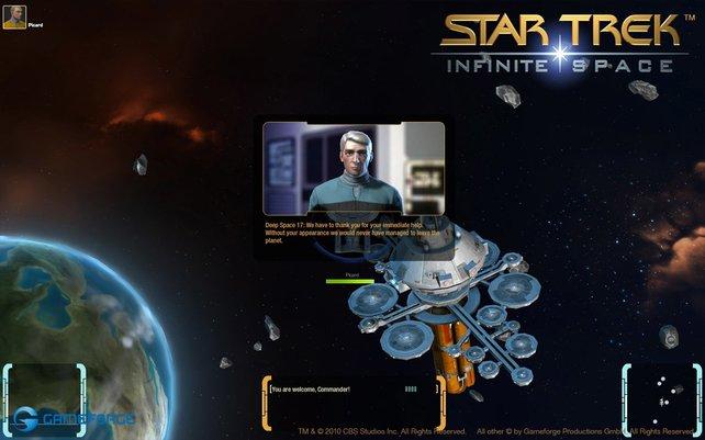 Die Textbildschirme ordnen eure Mission in die Star-Trek-Rahmenhandlung ein.