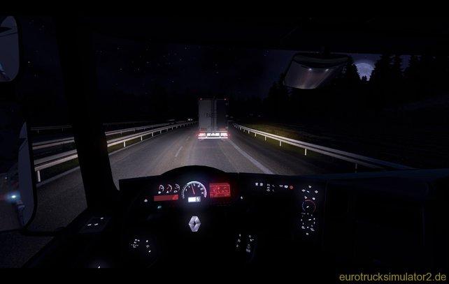 Im Euro Truck Simulator 2 fahrt ihr auch bei Nacht und Nebel.
