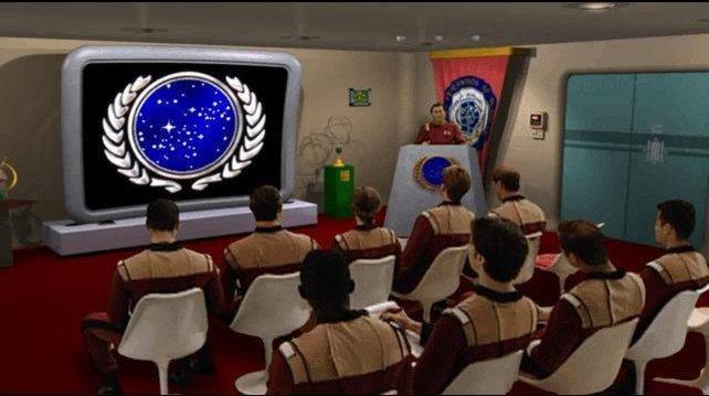 Einsatzbesprechung durch Captain Sulu (Star Trek: Starfleet Academy)