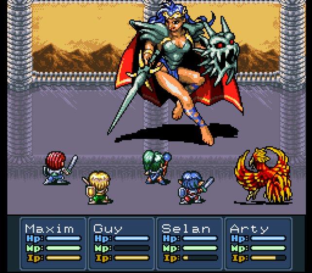 Neben den Lufia-Helden wartet das Monster auf seinen Einsatz.
