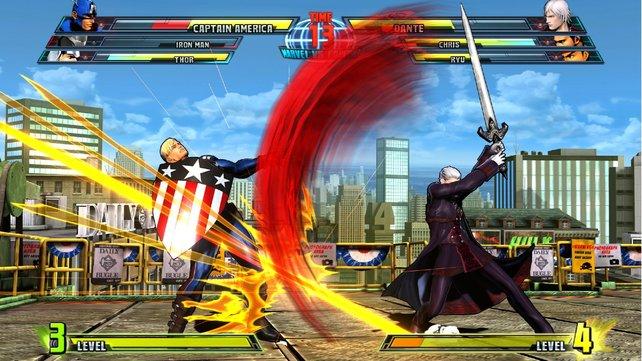 Captain America kämpft gegen Dante.