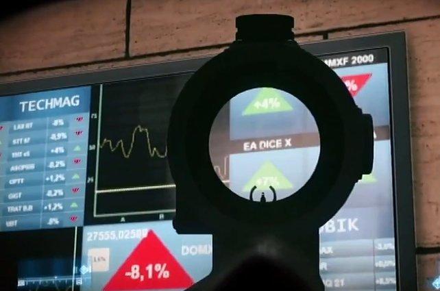 """In der Mission """"Genossen"""" entdeckt ihr - den steigenden - Aktienkurs von EA und Dice."""