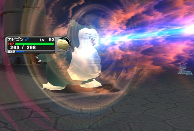 Primär kämpft ihr im Spiel gegen andere Pokémon. Hier zeigt Relaxo gerade, dass er nicht zur schlafen kann.
