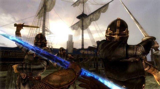 Am Hafen müssen mehrere Feindwellen aufgehalten werden