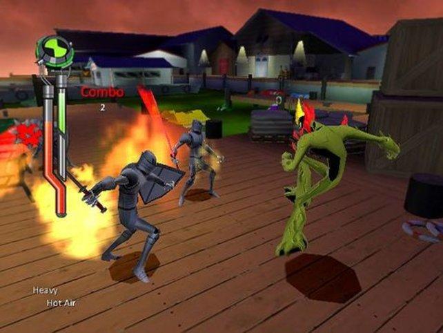 Mit einem Feuerstrahl bekämpfen wir die Gegner.