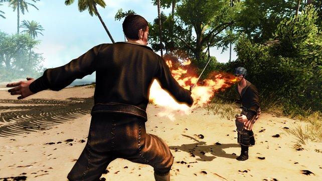 Schusswaffen oder Zauber erhaltet ihr erst im späteren Spielverlauf.