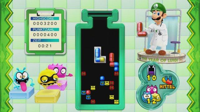Um sich von seinem Bruder abuzsetzen bietet Dr. Luigi einen neuen Modus mit L-förmigen Pillen.