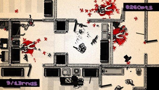 Mit großen Pixeln und leuchtenden Blutfontänen wirkt Hotline Miami teils verstörend.