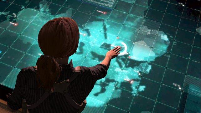 Grim wirft einen prüfenden Blick auf die Karte. Von hier aus startet ihr die nächste Mission.