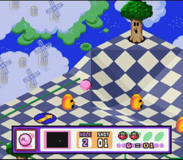 Kirby's Dream Course ist ein surrealistisches Minigolf-Spiel.