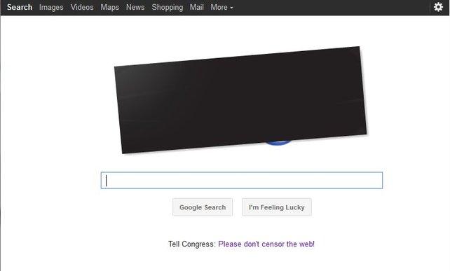 Amerikanische Nutzer von Google sehen am 18. Januar 2012 eine zensierte Suchmaschinen-Seite.