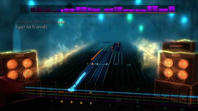 Hier seht ihr den Zeitpunkt, wenn das Symbol die virtuelle Gitarre trifft.