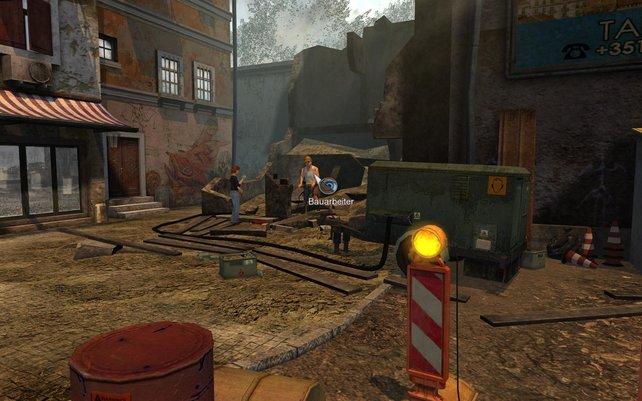 Lara braucht Lärm, also hilft sie dem Bauarbeiter bei seinem Problem.