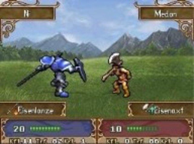 Ein Schwertkämpfer ist gegen einen Axtkrieger im Vorteil.
