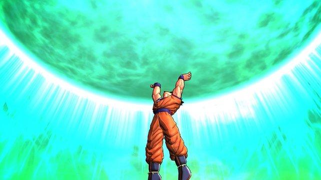 """Während euch die Mannschaftskollegen beschützen, ladet ihr eure """"Spirit Bomb"""" auf."""