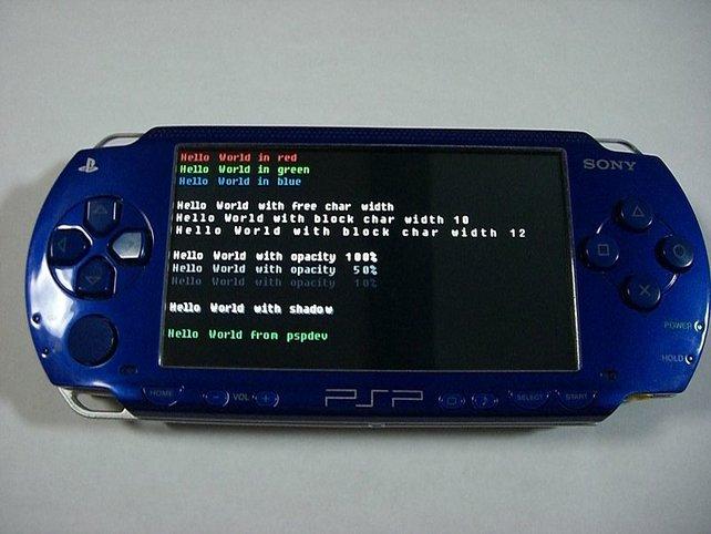 """Der Klassiker: Das Homebrew-Programm """"Hello World"""" zeigt, wie Textarten auf der PSP aussehen."""