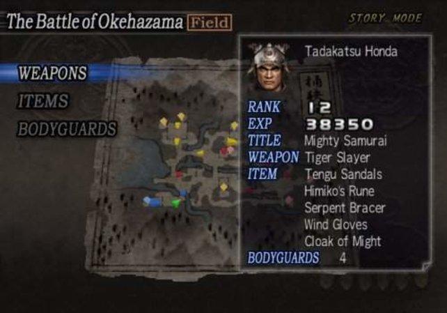 Vor jeder Schlacht könnt ihr euch mit Waffen, Gegenständen und Leibwachen ausrüsten.
