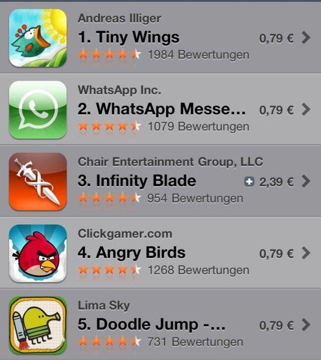 AppStore Top 25 auf dem iPhone