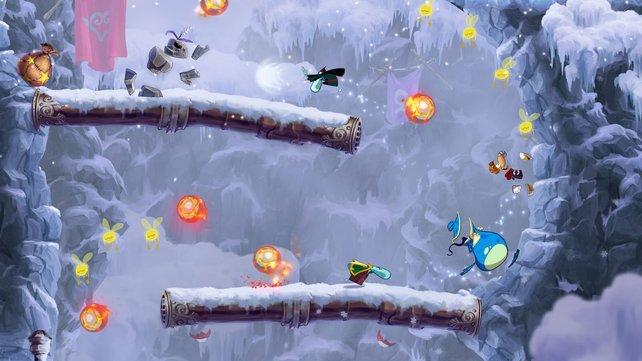 Rayman (gelbe Haare) und Globox (blaue Kreatur) reisen neben dem Dschungel auch durch Winter- und Unterwasserwelten.