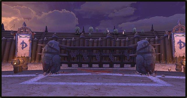 Die Tore in Goblinball sind durch weiße Linien gekennzeichnet.