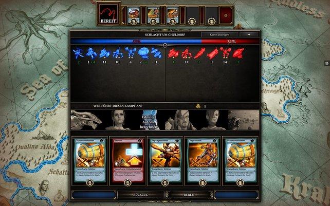 Unmittelbar vor der Schlacht wählt ihr euren General und spielt Karten aus.