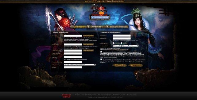 So sieht der Anmeldebildschirm aus: Flott User-Daten eingeben, und schon gratis im Spiel.