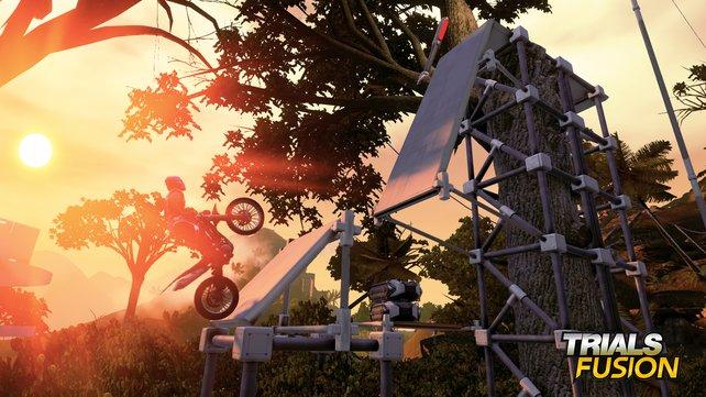 Freut euch auf knifflige Sprung-Passagen auf dem Zweirad.