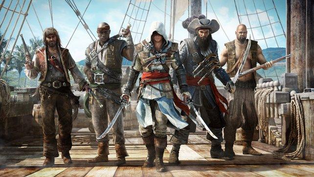 Edward Kenway, Captain Blackbeard und der Rest der Crew.
