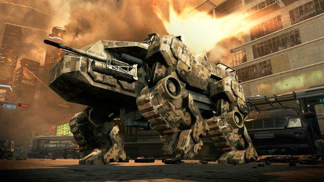Beine statten Ketten: Dieses Ungetüm erinnert stark an Metal-Gear-Kampfmaschinen.