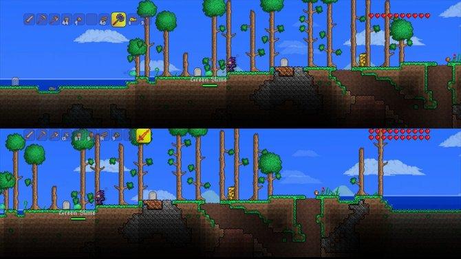 In der Konsolenfassung von Terraria spielt im im geteilten Bildschirm vor einer Konsole.