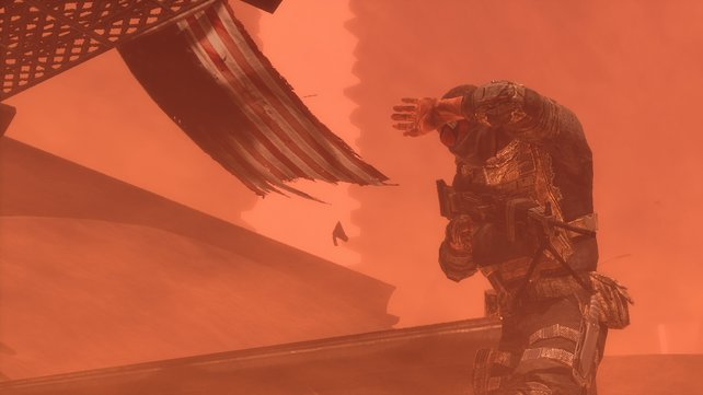 Sandstürme verschlechtern eure Sicht extrem - Gegner erscheinen nur noch als Silhouetten.