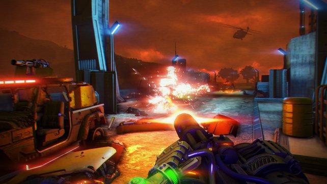 Far Cry 3 - Blood Dragon setzt auf eine Optik, die sofort ins Auge springt.