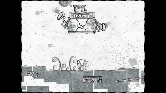 Don't kill her ist ein kostenloses Hüpfspiel mit einer Grafik im Stil von Bleistiftzeichnungen.