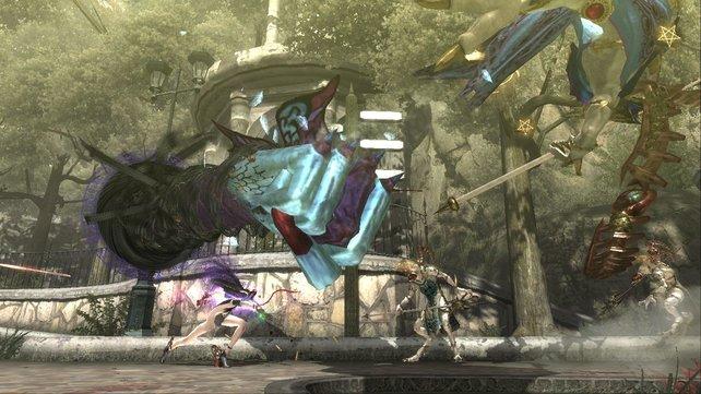 Auch riesige Fäuste kann Bayonetta herbeizaubern.