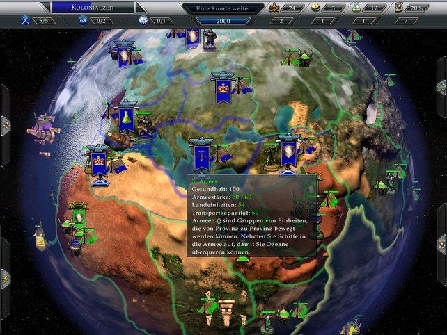 Übersichtliches Interface in 3-D Weltkugelform