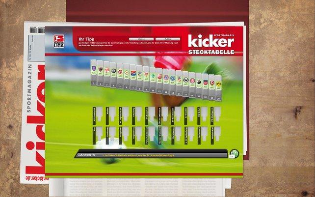 Die berühmte Kicker-Stecktabelle ist auch wieder mit dabei.