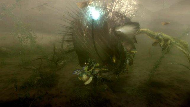 Auch unter Wasser kämpft ihr gegen Monster.