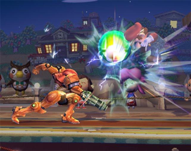 Zwei Wii-Helden unter sich: Mario gegen Samus aus Metroid Prime.