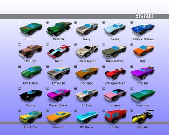 Hier sieht man, wieviele verschiedene Fahrzeugtypen es gibt.