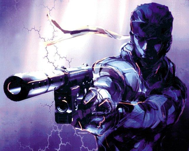 Solid Snake. Markenzeichen: Stirnband, Pistole und grimmiger Blick.