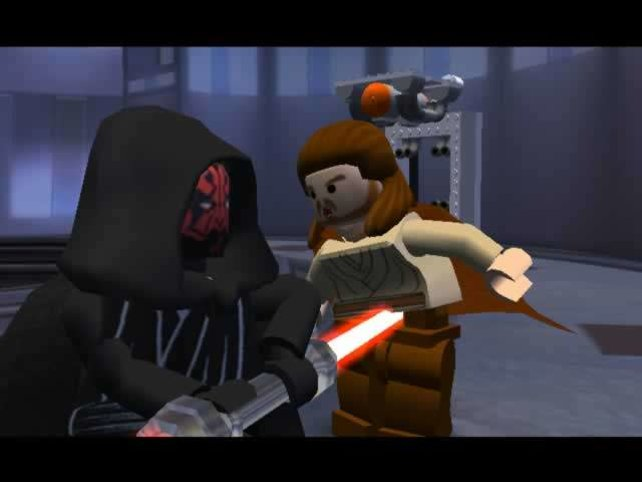 Darth Maul besiegt Qui-Gon Jinn. In Lego-Optik.