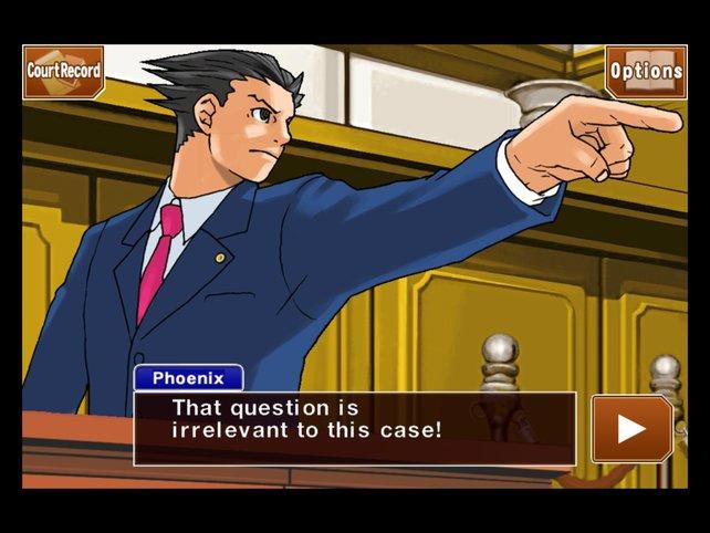 Einspruch! Phoenix Wright kämpft vor Gericht um Beweise und korrekte Aussagen.