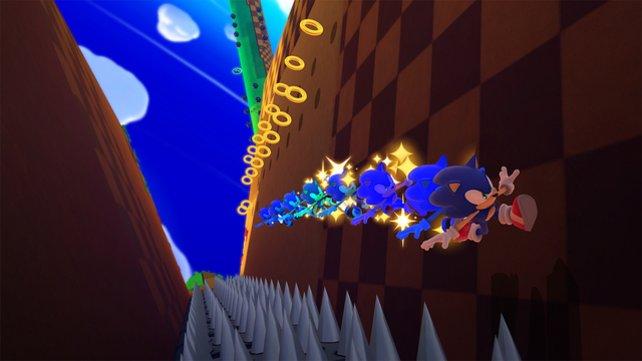 Auch an Wänden läuft Sonic flink entlang.
